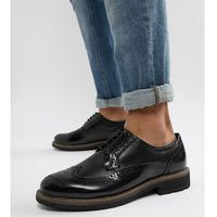 Dune Wide Fit Brogues In Black Leather - Black