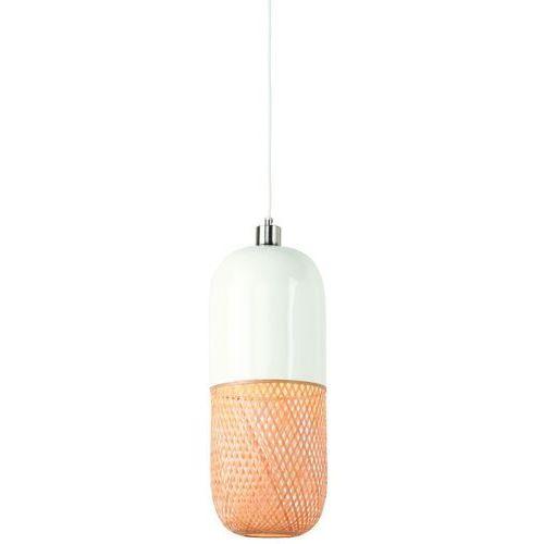 It's About RoMi Lampa wisząca Mekong bambus /20x50cm podłużny, biała/naturalny MEKONG/H50/W, kolor biały,