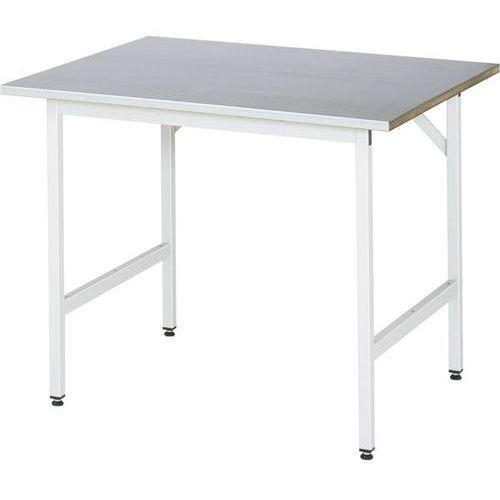Stół roboczy, z regulacją wysokości,800 - 850 mm, blat z okładziną z blachy stalowej marki Rau