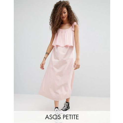 ASOS PETITE Double Layer Maxi Dress in Cotton - Blue, suknia, sukienka ASOS Petite