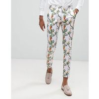 Asos super skinny smart trousers with pink bird print - pink