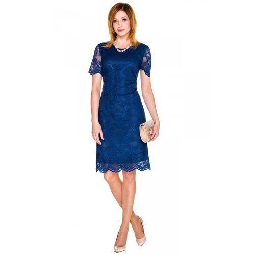 Sukienka z granatowej koronki -  marki Bialcon