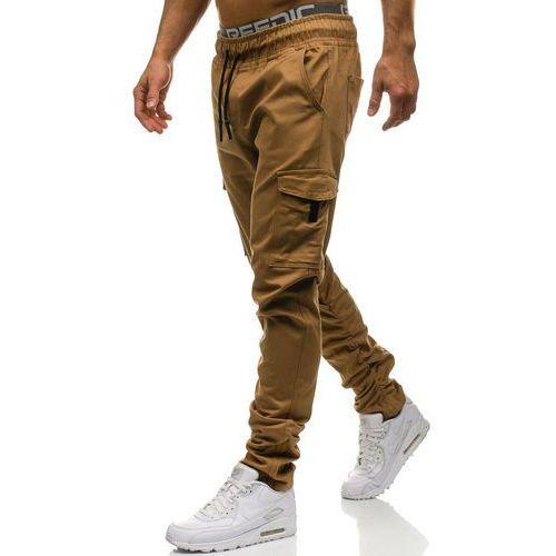 Spodnie bojówki męskie camelowe denley 0857, Athletic