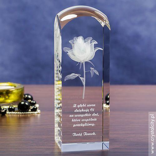 RÓŻA 3D Kwiat Miłości ♥ personalizowany kryształ 3D wysoka zaokrąglona • GRAWER 3D z kategorii Upominki