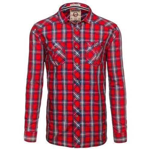 Czerwona koszula męska w kratę z długim rękawem Denley 6909 - CZERWONY marki TOKYO LAUNDRY