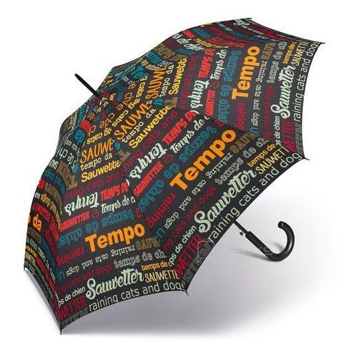 essentials slogan długi damski parasol automatyczny long ac - czarny marki Happy rain