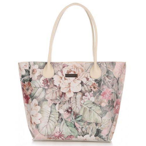 Vittoria gotti Włoskie torebki skórzane xl w kwiaty multikolorowa beżowa (kolory)