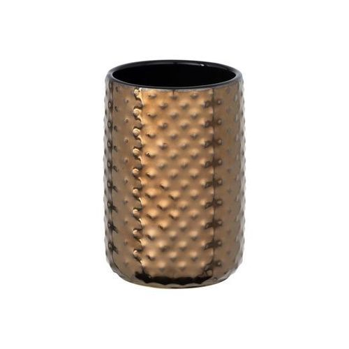 Kubeczek na szczoteczki do zębów Keo, kolor miedziany z połyskującą strukturą, ceramika, wymiary 11x7.5 cm, odporny na wilgoć