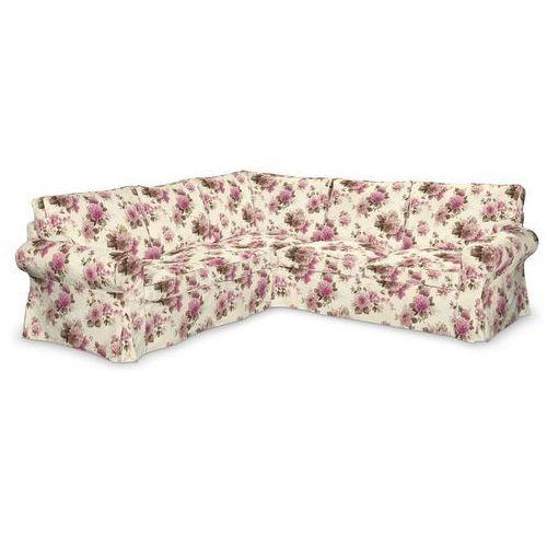 Dekoria pokrowiec ektorp na sofę, różowo-beżowe róże na kremowym tle, sofa ektorp narożna, mirella