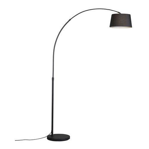 Qazqa Nowoczesna lampa łuk czarna klosz czarny tkanina - arc basic