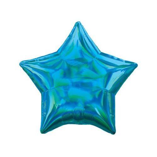 Balon foliowy gwiazdka opalizujący turkusowy - 46 cm - 1 szt., #A1471^wd