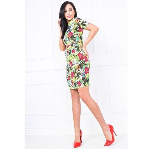 Sukienka bombka w kwiaty z krótkim rekawem, kolor wielokolorowy