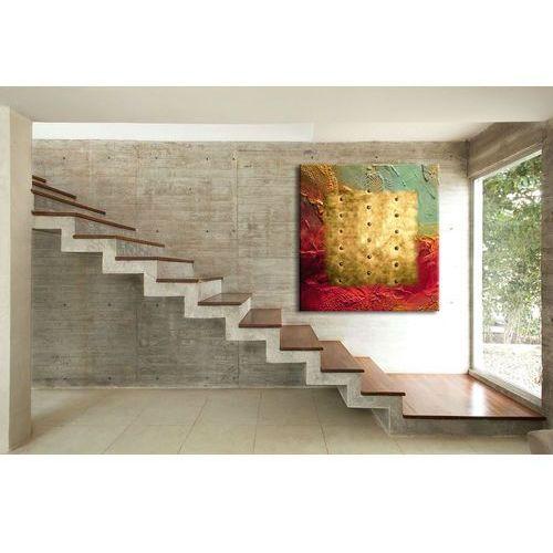 """Zachwycający kształtem, kolorem i teksturą abstrakcyjny obraz """"barwy i metal"""""""