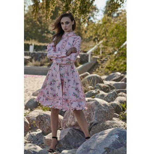 8e6c31f28f Wyjątkowa sukienka z efektownym wykończeniem L269 pudrowy róż w kwiatki