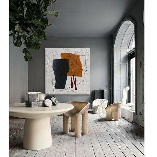 ALTERNATIVO - Obraz abstrakcyjny w barwne plamy do loftu i nowoczesnego wnętrza w kolorach bieli, pomarańczu i grafitu