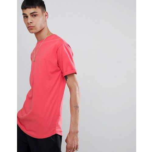 Bershka Join Life Longline T-Shirt In Red - Red