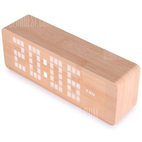 Novelty White Light LED Wooden Electronic Alarm Clock with Sound Control Calendar Thermometer Function z kategorii Zegary