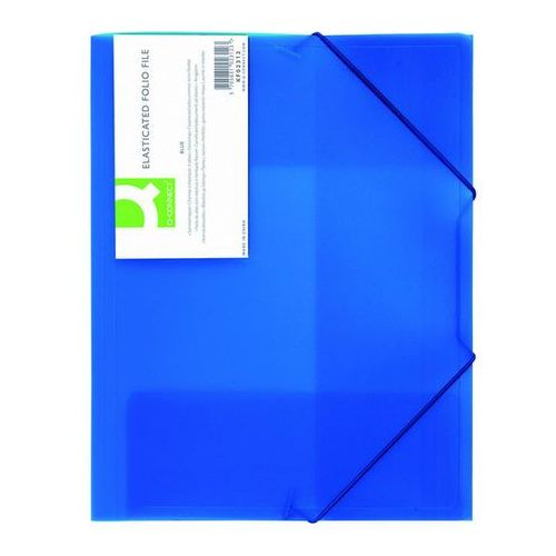 Teczka z gumką , pp, a4, 400mikr., 3-skrz., transparentna niebieska marki Q-connect