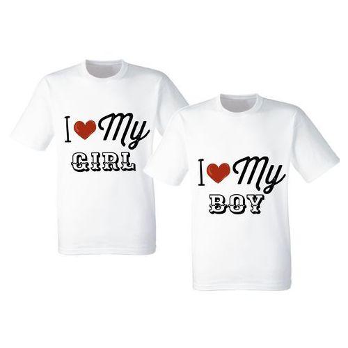 Koszulki Prezent Walentynki Love My Girl Boy - biały \ ZDB0910