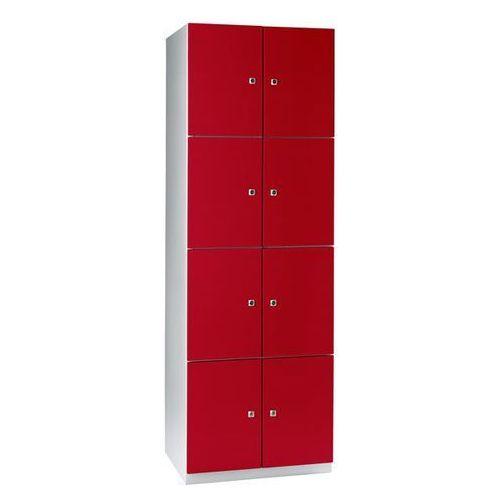 Szafa z półkami, 8 półek, 1800x600x500 mm, drzwi czerwone. Solidna, spawana kons
