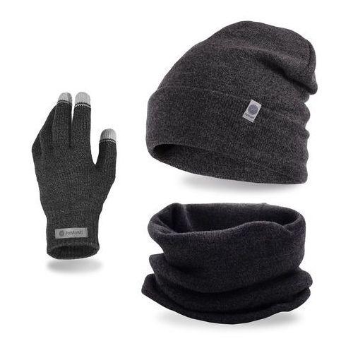 Komplet męski - czapka, komin i rękawiczki - ciemnoszara mulina marki Pamami