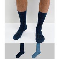 ASOS Socks In Geo Texture 2 Pack - Blue, kolor niebieski