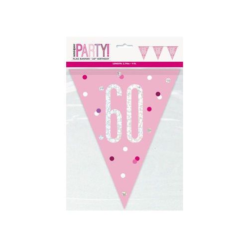Baner flagi różowy z nadrukiem 60 - 274 cm - 1 szt. (0011179834556)