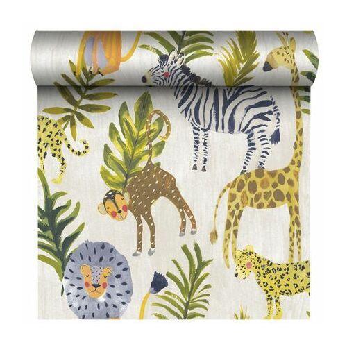 Tapeta dla dzieci jungle zielono-beżowa na flizelinie marki Grandeco