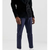 tall tapered smart trouser in navy and white windowpane check - navy, Asos design