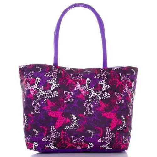 Loren Torba plażowa damska kolorowe motyle - fioletowy ||cyklamen ||liliowy ||czarny ||biały ||wielokolorowy ||wielobarwny