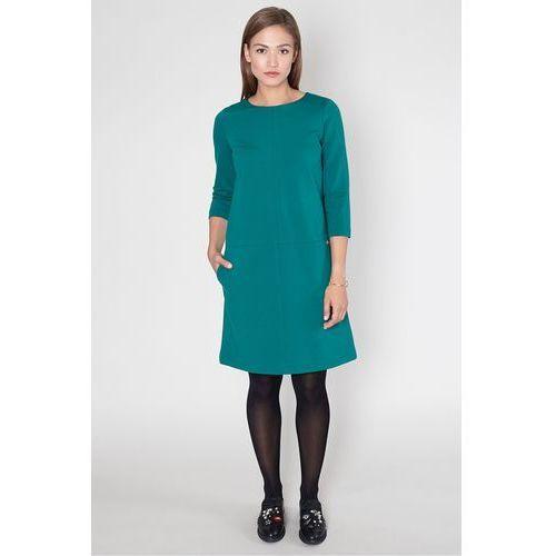 Zielona trapezowa sukienka - Click Fashion, kolor zielony