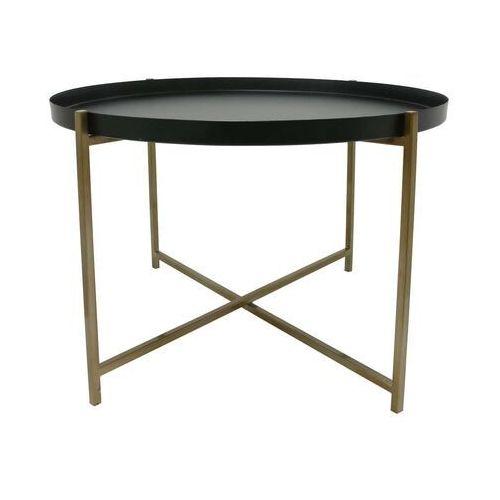 Hkliving stolik metalowy z mosiężną ramą i czarnym zdejmowanym blatem, rozmiar l mta2810