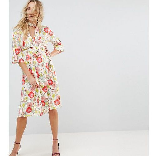 ASOS MATERNITY Skater Dress with Tie Neck in Red Floral Print - Multi