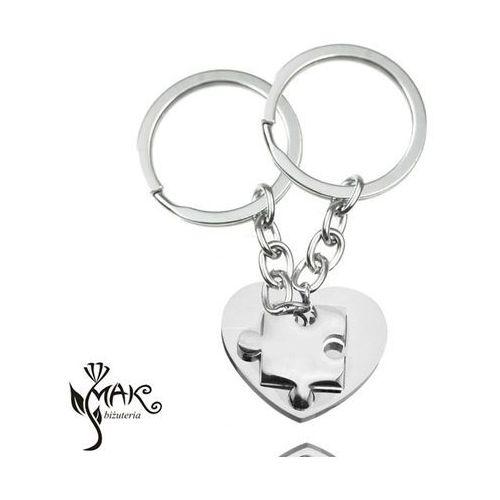 Mak-biżuteria Bk915 breloki do kluczy dla zakochanych serce puzzel grawer
