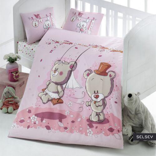 SELSEY Dziecięca pościel do łóżeczka Bears' Wedding 100x150 cm z dwiema poszewkami na poduszkę 35x45 cm i z prześcieradłem