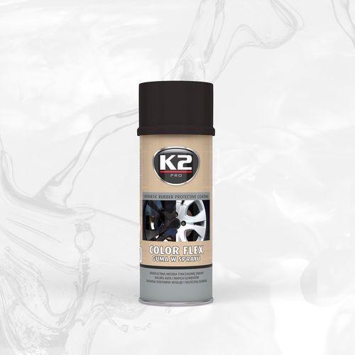 Color flex guma w sprayu - czarny połysk syntetyczna powłoka gumowa w sprayu marki K2