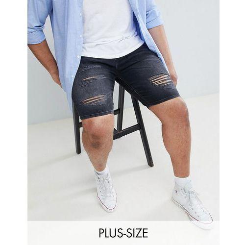River Island Big & Tall Skinny Ripped Denim Shorts In Black Wash - Black