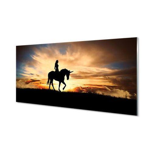 Obrazy na szkle Kobieta na jednorożcu zachód słońca