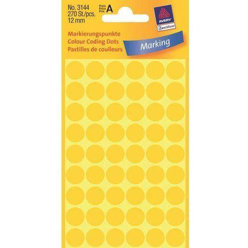 Kółka samoprzylepne  3144 12mm/270szt. żółte marki Avery zweckform