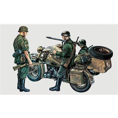 Wojskowy motocykl z bocznym wózkiem bmw r75  0315 marki Italeri