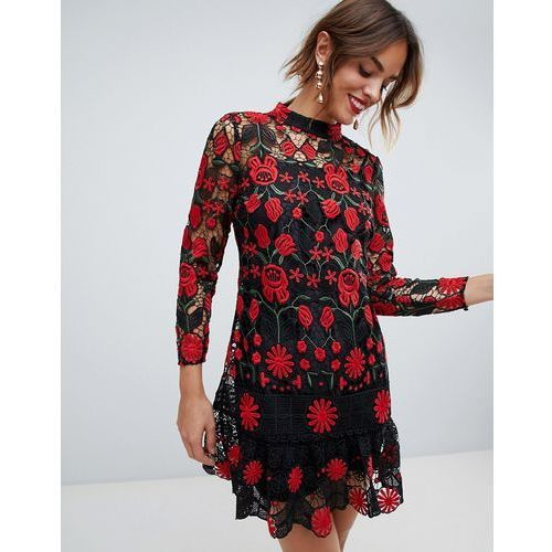 9f74b5269e Suknie i sukienki · Asos design contrast lace mini dress with pep hem -  multi