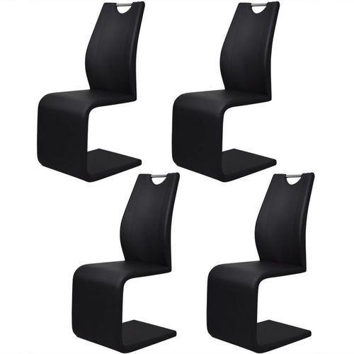 Krzesła wspornikowe, 4 szt., sztuczna skóra, czarne, kolor czarny