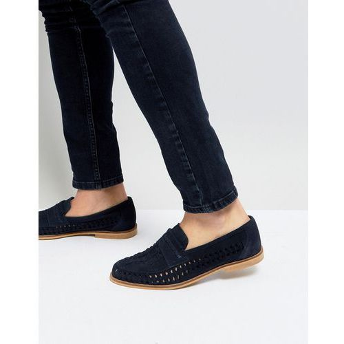 Silver Street Woven Loafers In Navy Suede - Blue