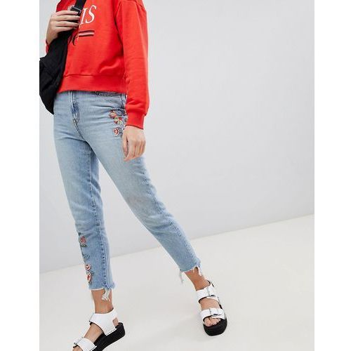 New look embroidered mom jeans - blue