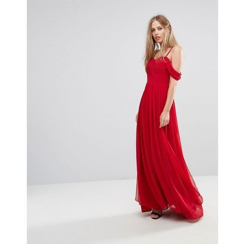 Y.a.s cold shoulder maxi dress - red