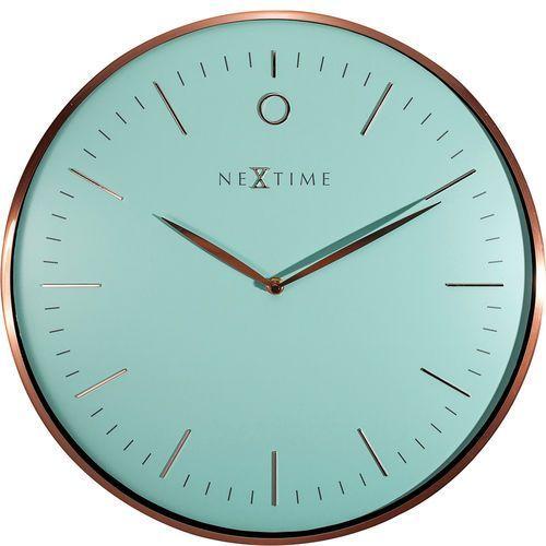 Nowoczesny, elegancki zegar ścienny Glamour Nextime 40 cm, turkusowy (3235 TQ), kolor niebieski