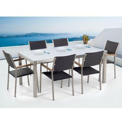 Stół szklany biały - 180 cm - z 6 rattanowymi krzesłami - GROSSETO (7105278246037)