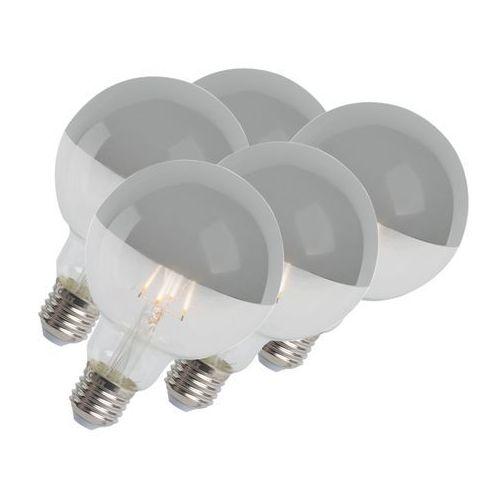 Zestaw 5 żarówek led kula ze srebrnym lustrem e27 240v 4w 280 lumenów 2300k g95 ściemnialna marki Calex