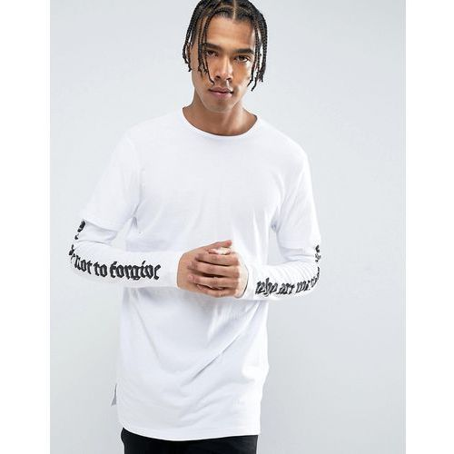 New Look Longline Layered T-Shirt With Printed Sleeves In White - White