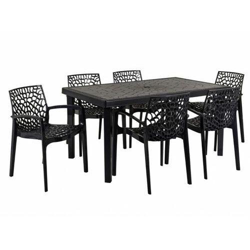 Vente-unique Jadalnia ogrodowa diademe – stół + 6 foteli – polipropylen – kolor szary antracytowy